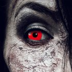 Kontaktlinsen Red Devil 3 Monate, Halloween Zombie Vampir, Rot