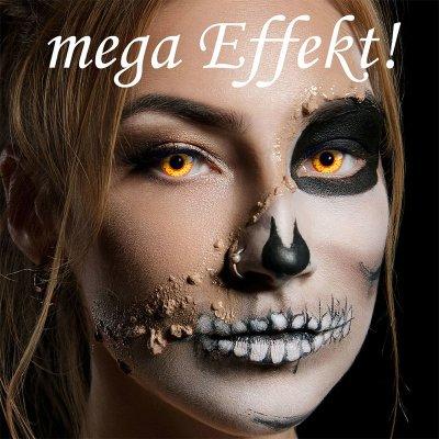 Farbig Gelb-Rot Kontaktlinsen 3 Monate Ork Halloween...