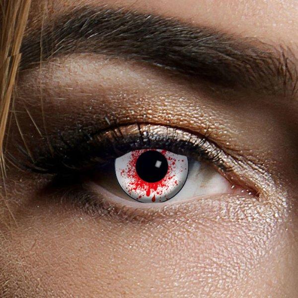 Farbig Weiß-Rot Kontaktlinsen 3 Monate Bloodshot Halloween Zombie Vampir