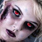 Kontaktlinsen Red Devil 1 Woche, Halloween Zombie Vampir, Rot
