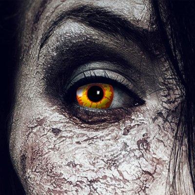 Farbig Rot-gelb Kontaktlinsen 1 Woche Halloween Zombie...