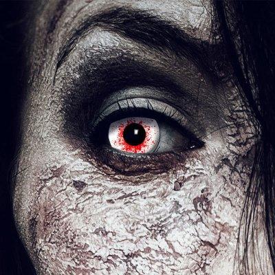 Farbig Weiß-rot Kontaktlinsen 1 Woche Halloween...