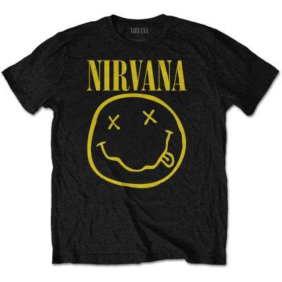 Nirvana Shirt  Smiley Front Print Only schwarz