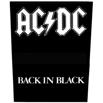 AC/DC Backpatch Back in Black schwarz weiß
