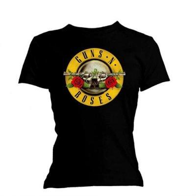 Guns n´ Roses skinny Frauenshirt Classic Bullet Logo