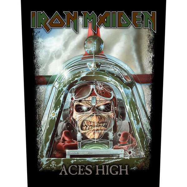 "Iron Maiden Backpatch ""Aces High"" schwarz grün"
