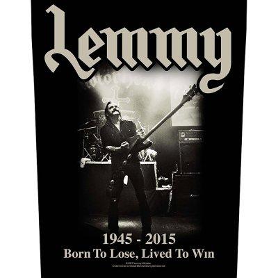 """Lemmy Kilmister Backpatch """"Lived to win"""" schwarz"""