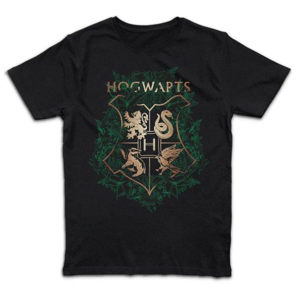 Harry Potter Hogwarts Green Floral Crest T-Shirt