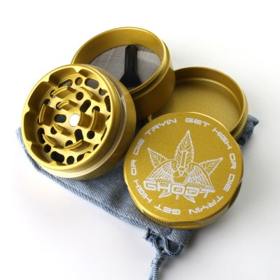 Grinder Keramikbeschichtet Gold Ø: 53 mm, 4 Part mit Sieb...
