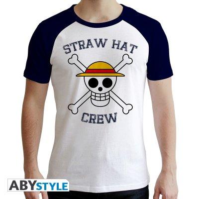 One Piece Skull T-Shirt Weiß Blauf