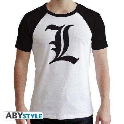 Death Note Tshirt  L Symbol Weiß